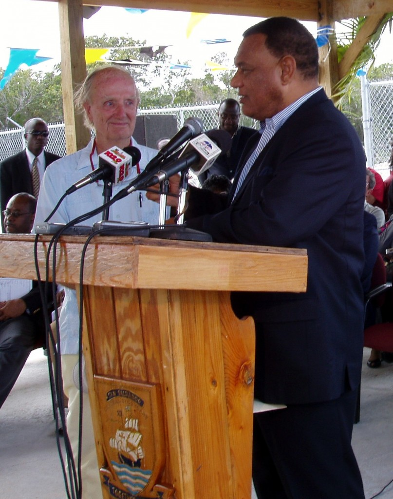 Rum Cay legend, David Melville with Bahamas Prime Minister Perry Christie for the opening of the Rum Cay airstrip in 2004.